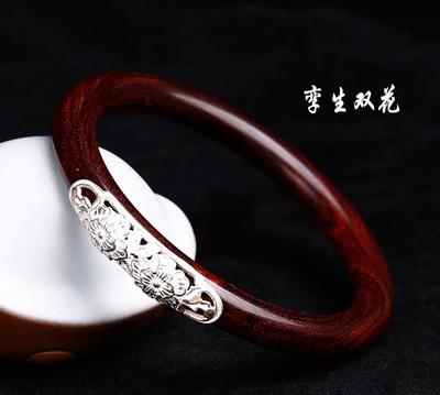天然印度小叶紫檀红木高密老料手镯镶嵌925银(孪生双花)