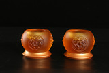 铜底琉璃宝相烛台 佛教用品 琉璃烛台 酥油灯座 古法琉璃烛台