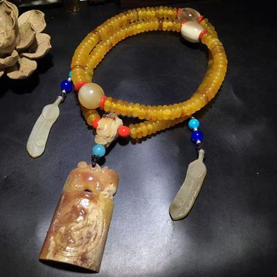 天然黄金甲山龟壳算盘珠108颗佛珠 搭配骆驼骨