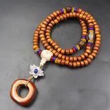 天然西藏老耗牛骨108佛珠手链 搭配琉璃天珠玛瑙藏银