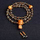 天然西藏老羊角镶嵌黑牛角圆珠DIY搭配风化菩提根善财童子