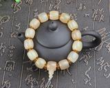西藏天然羊角带血丝单圈辟邪佛珠手串