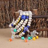包邮 星月菩提子手串108颗佛珠A+菩提子散珠正月高密顺白DIY星月配银象、青金石、绿松石