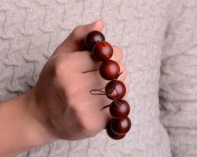 天然小叶紫紫檀单圈佛珠手串 老料顺纹高油圆珠