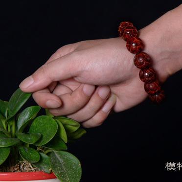 天然小叶紫檀雕刻莲花珠佛珠手串